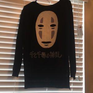"""Spirited away """"no face"""" sweater. Black fleece"""